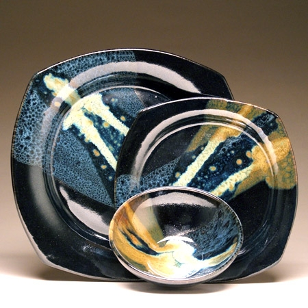 Mangum Pottery Dinnerware (Black & Teal)