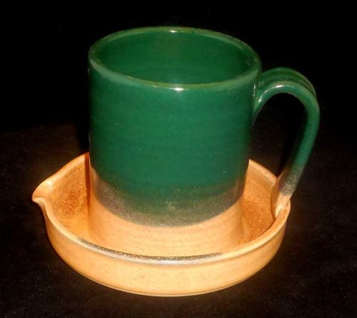 New Morning Gallery Green and Tan Ceramic Bacon Cookers by Stegall Pottery are made with food-safe ceramics and glazes.