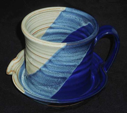 New Morning Gallery Blue White Ceramic Bacon Cookers by Patrick Rowe