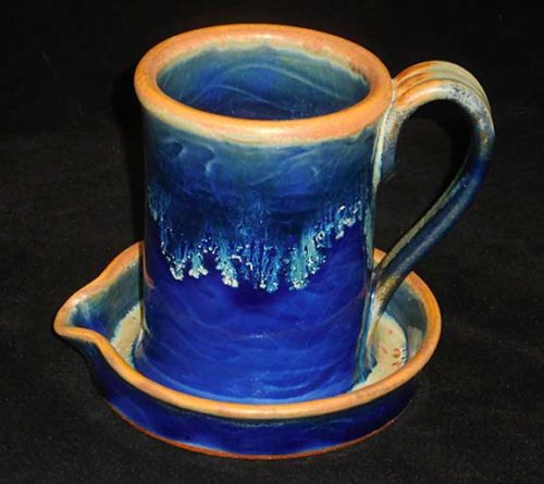 New Morning Gallery Blue Allan Ditton Ceramic Bacon Cookers made with food-safe ceramics and glazes.