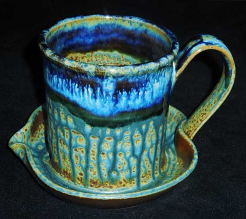 New Morning Gallery Blue Ray Pottery Ceramic Bacon Cookers are made with food-safe ceramics glazes