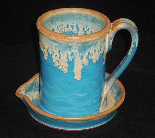 New Morning Gallery Carolina Blue Allan Ditton Ceramic Bacon Cookers made with food-safe ceramics and glazes.