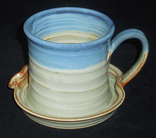 New Morning Gallery Denim Cream Patrick Rowe Ceramic Bacon Cookers are made with food-safe ceramics glazes.