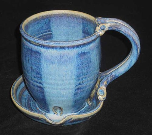 New Morning Gallery French Blue Bacon Cookers by Anthony Stoneware are made with food-safe ceramics and glazes.