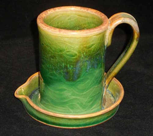 New Morning Gallery green Allan Ditton Ceramic Bacon Cookers made with food-safe ceramics and glazes.