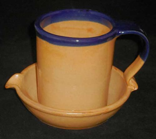 New Morning Gallery Ceramic Orange and Blue Bacon Cookers by John Ransmeier.