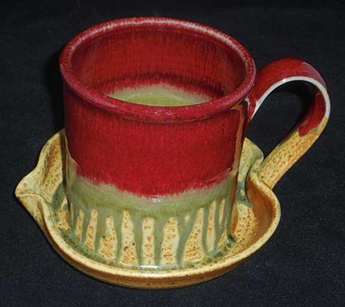 New Morning Gallery Red Ray Pottery Ceramic Bacon Cookers are made with food-safe ceramics glazes