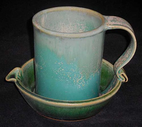 New Morning Gallery Ceramic Turquoise John Ransmeier Bacon Cookers are made with food-safe ceramics glazes.