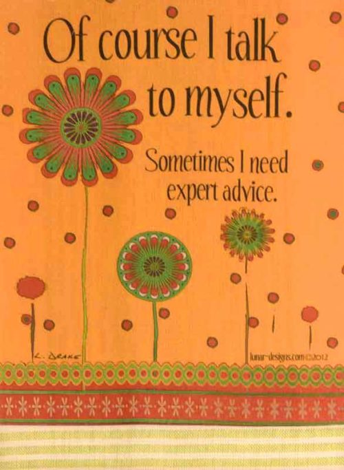 Of Course I Talk to Myself. Sometimes I Need Expert Advice, fun kitchen towel.