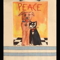 Peace Pals, dog and cat kitchen towel.