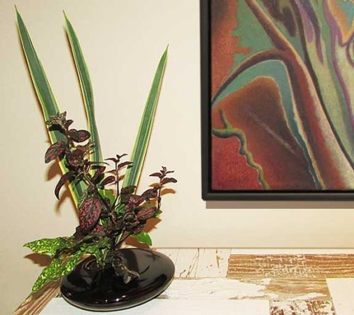 Beautiful black porcelain ikebana for live and dried flower arrangements.