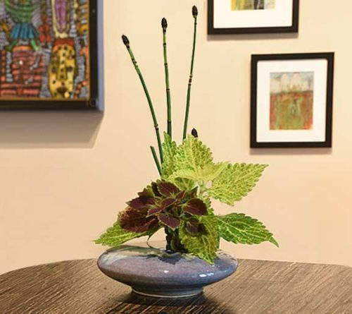Beautiful Purple Wave porcelain ikebana for live and dried flower arrangements