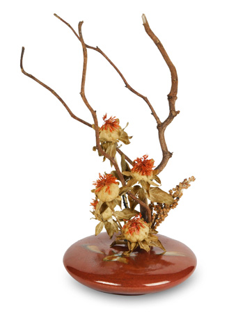 Beautiful Red Zen porcelain ikebana for live and dried flower arrangements.