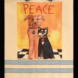 Lunar Designs Kitchen Towel #28 Peace Dog Cat