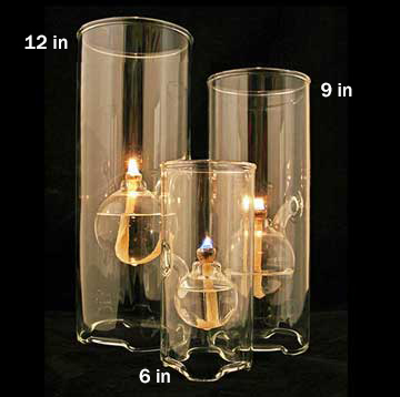 "Wolfard Glass Oil Lamp, 9"""