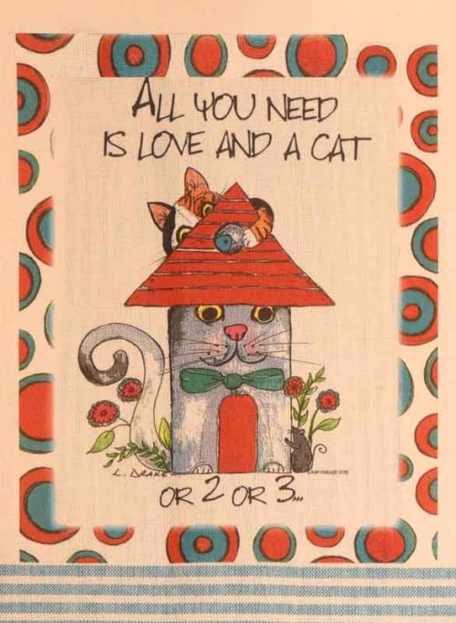 Lunar Designs Kitchen Towel #274 Love/Cat